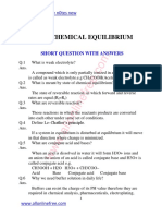 8 Chapter Chemical Equilibrium Short Questions