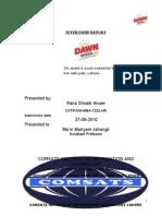 Dawn Bread Internship Report,