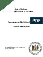 Developmental Disabilities Council Special Investigation
