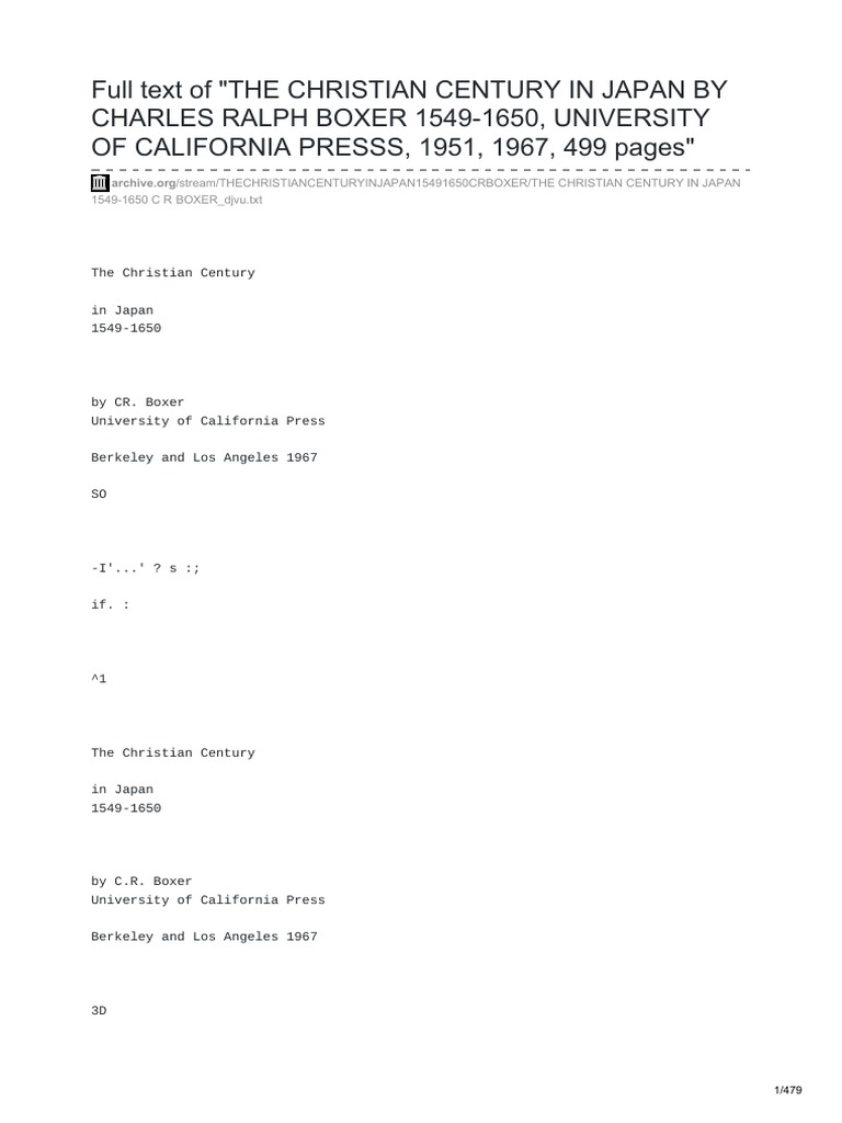 Archiveorg Full Text Of The Christian Century In Japan By Charles E Senses Gloss Me Lip 15 320479 Ralph Boxer 1549 1650 University Californiapdf Christopher Columbus