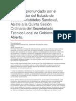 Quinta Sesión Ordinaria Del Secretariado Técnico Local de Gobierno Abierto