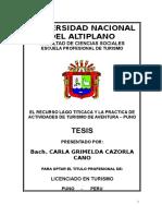 TESIS El Lago Titicaca y Turismo de Aventura Final