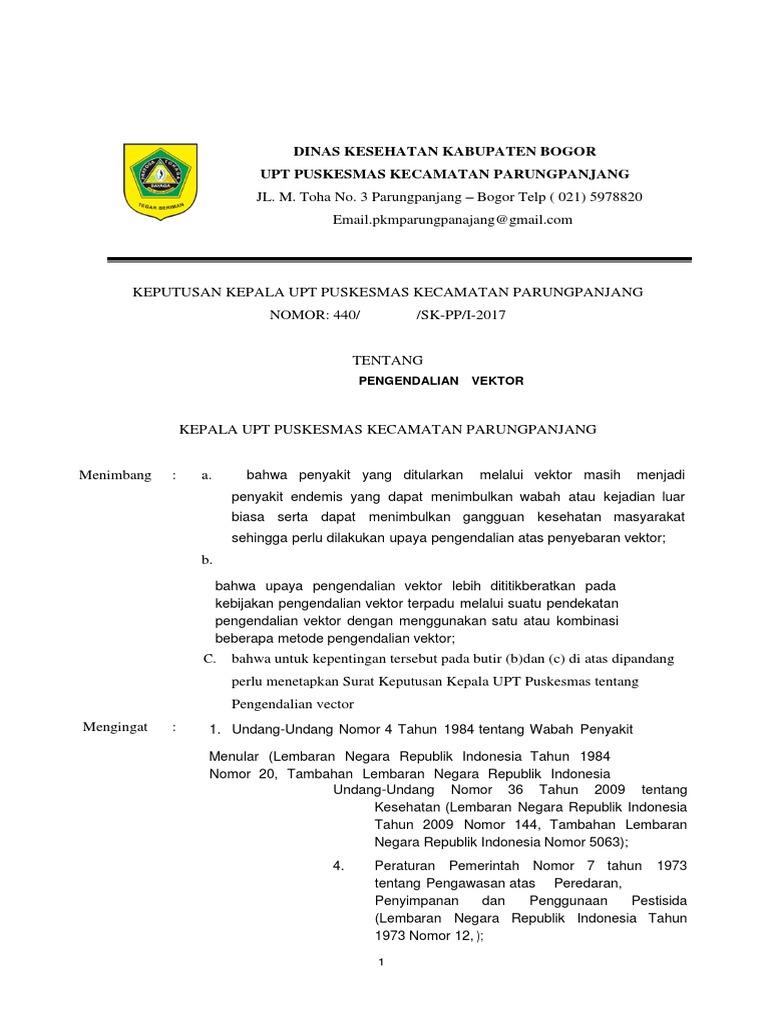 Sk Pengendalian Vektor Akreditasi Puskesmas