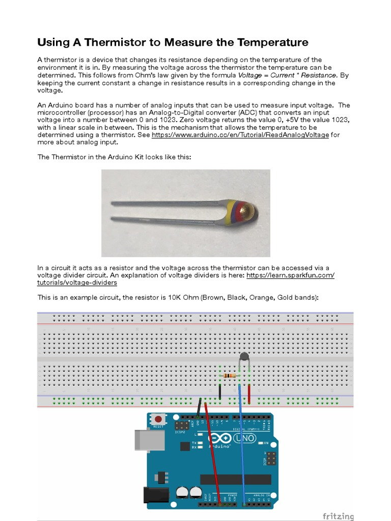 Thermistor Temperature Analog To Digital Converter Voltage Divider Electronics Tutorials