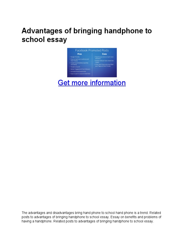 essay advantages of bringing handphone to school