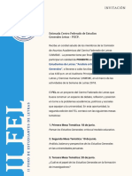 Invitación II Foro de Estudiantes de Letras Centro Federado de Estudios Generales Letras Pucp