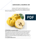 Propiedades Nutricionales y Beneficios Del Membrillo