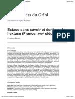 Extase sans savoir et écriture de l'extase (France, xviiesiècle)