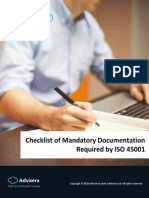 Checklist of Mandatory Documentation Required by ISO 45001 En