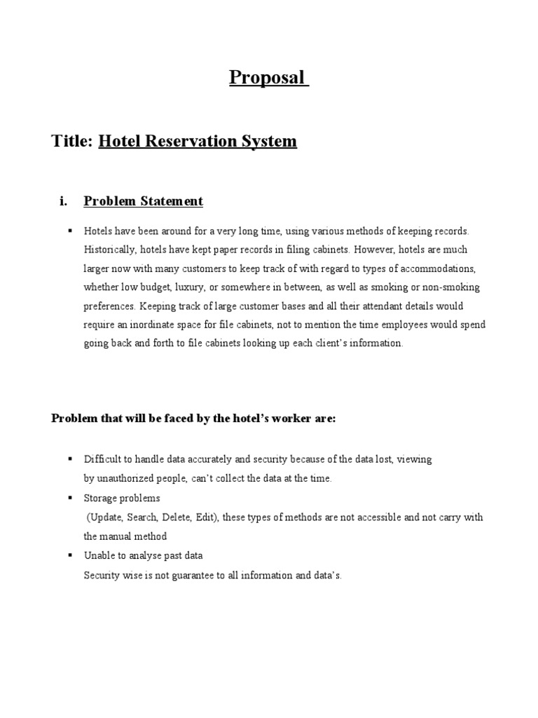 Hotel Reservation System Proposal | Databases | Menu