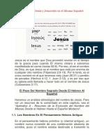 El Nombre Jesús y Jesucristo en El Idioma Español