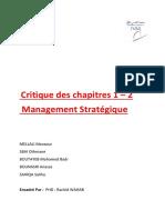 Critiques Chapitre 1 Et 2 Management Stratégique