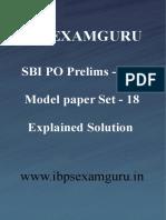 SBI PO Preliminary Model Paper 18