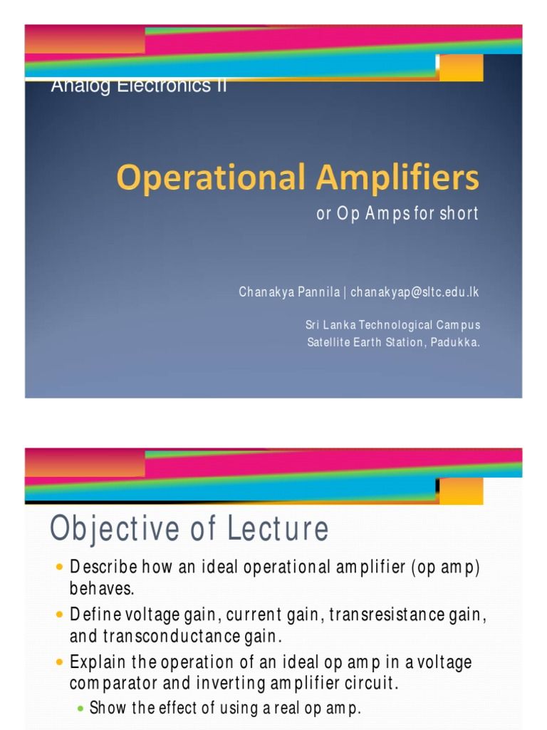 Operational Amplifiers Amplifier The Electronics