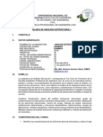 Sillabus Analisis Estructural i - Unu 2018.