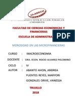 Morosidad en Las Microfinancieras