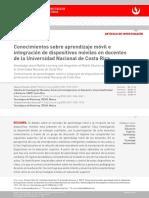 Conocimientos sobre aprendizaje móvil e integración de dispositivos móviles en docentes de la Universidad Nacional de Costa Rica.pdf