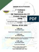 PROGRAMA DE ACTIVIDADES 1º TORNEO fitve Edo Vargas  ITF 2008