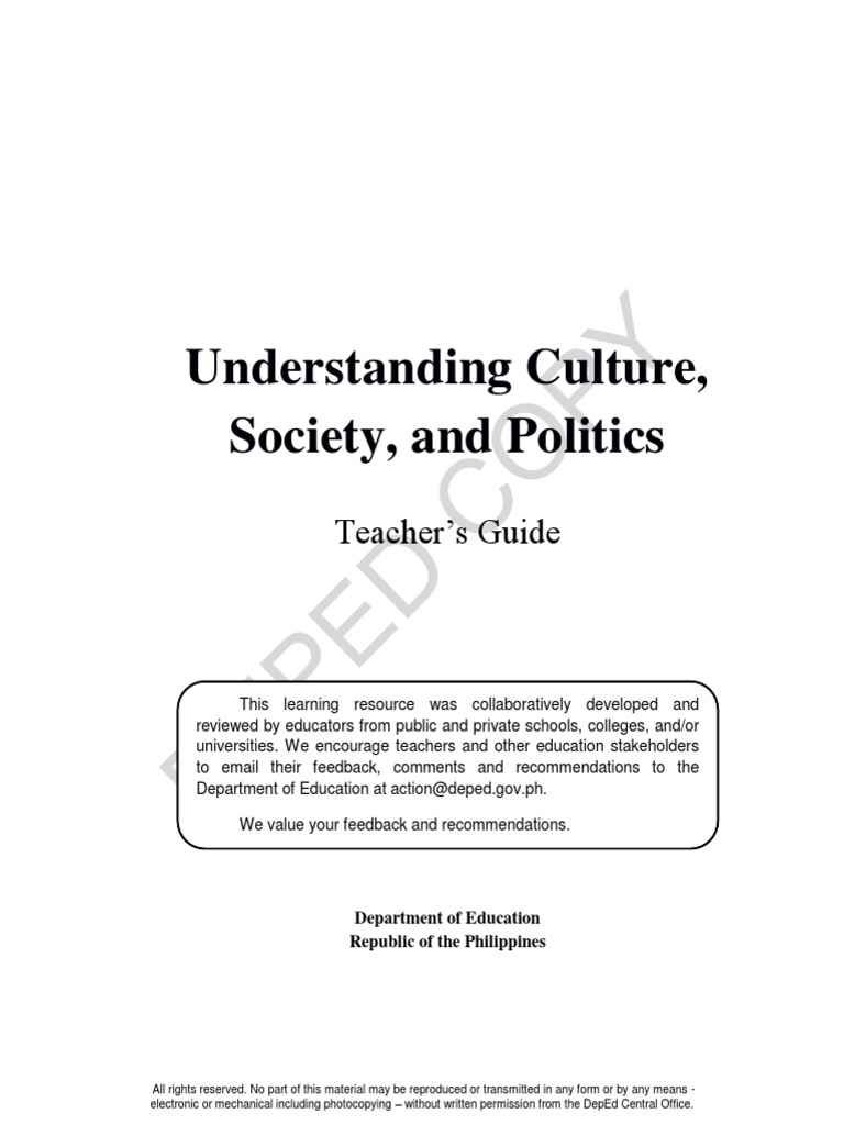 d7ef2f714 TG UNDERSTANDING CULTURE, SOCIETY AND POLITICS.docx | Anthropology |  Socialization