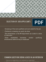 Selection of Job Applicants