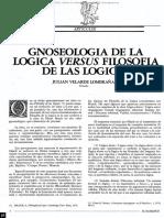 Julián Velarde Lombraña, Gnoseología de La Lógica Verus Filosofía de Las Lógicas