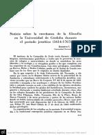PEÑA, R. - Noticia sobre la enseñanza de la filosofía en la Universidad de Córdoba durante el período jesuítico (1614 - 1767).pdf