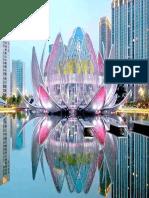 روائع الهندسة المعمارية من الصين مبنى زهرة اللوتس على بحيرة صناعية .Lotus Bldg
