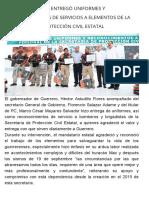 04-12-2017 Astudillo Flores Entregó Uniformes y Reconocimientos de Servicios a Elementos de La Secretaría de Protección Civil Estatal