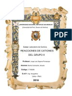 Laboratio de Quimica, Grupo II de CATIONES