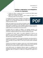 Lorena Martínez Rodríguez, presenta compromisos con trabajadores en todos los municipios.