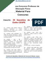 Simulado Concurso Professor de Educacao Fisica Questoes Concurso Pedagogia Simulado 30 Questoes de Portugues CESPE Docx