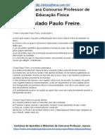 Simulado Concurso Professor de Educacao Fisica Questoes Concurso Pedagogia Simulado Paulo Freire Docx