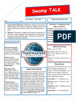Swamp Talk,  Okefenokee Toastmasters Club newsletter, July 2018