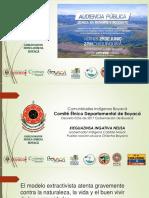 Indígenas Muisca Chibcha Consulta Previa y Extractivismo, Audiencia Chiquinquira 2018