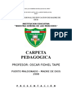 Carpeta Pedagógica Oscar 2008 de LAS MERSEDES