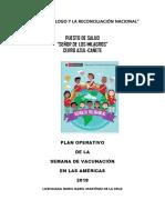 Plan Operativo de Vacunación de La Sva 2018