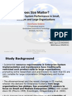 Does Size Matter? Enterprise System Performance in Small,Medium and Large Organizations