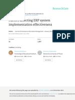 Factors affecting ERP system implementation effectiveness