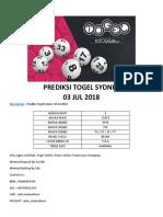 Mamadewa - Prediksi Togel Sydney 03 JUL 2018