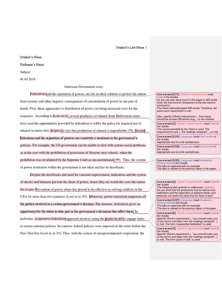 good sampleamerican government essay  federalism  separation of  good sampleamerican government essay  federalism  separation of powers