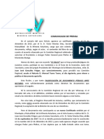 Comunicado Mayo 2018 Prensa