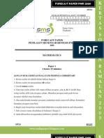 Forecast Paper Mathematics PMR Paper 1 Sept 2009