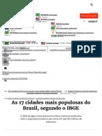 As 17 Cidades Mais Populosas Do Brasil, Segundo o IBGE