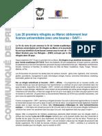 Communiqué de presse sur le programme DAFI au Maroc