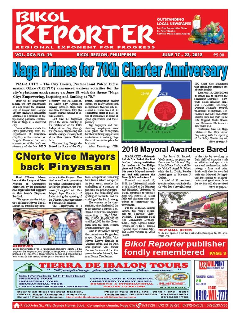 Bikol Reporter June 17 - 23, 2018 Issue