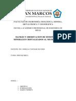 INFORME N° 4 - FISICOQUIMICA -  MANEJO Y OBSERVACION DE MINERALES