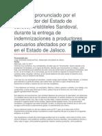 Entrega de Indemnizaciones a Productores Pecuarios Afectados Por Sequías en El Estado de Jalisco