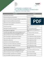 Calendario Academico Licenciatura TSU 2018