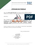 Certificado de Trabajo de Mario Rafael