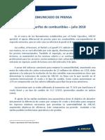 Comunicado de Prensa 3-7-2018